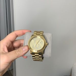 Michael Kors gold thick band rhinestone face watch